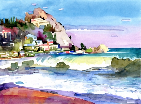 original watercolor painting on paper of a rocky bank is in the district of Gurzuf, Crimea, Ukraine, plein air painting