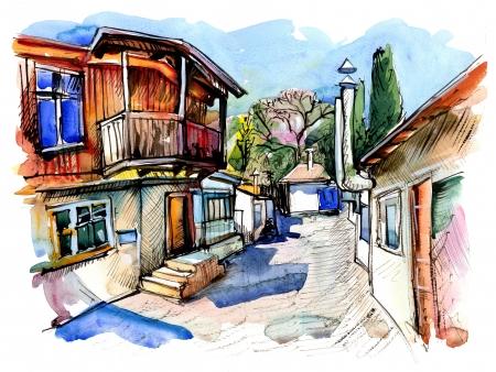 original watercolor painting on paper of old street of Gurzuf, Crimea, Ukraine, plein air painting photo