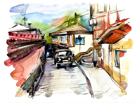 original watercolor painting on paper of old street of Gurzuf, Crimea, Ukraine, plein air painting photo