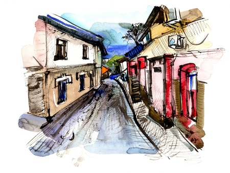 freehand drawing: original hand draw sketchy and watercolor old street landscape