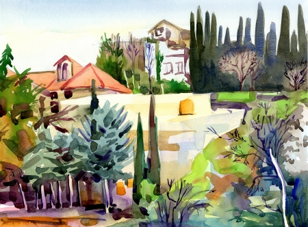 original watercolor landscape with trees and houses, plein air painting photo