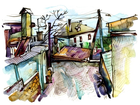 crimea: original watercolor painting on paper of old street in Gurzuf, Crimea, Ukraine, plein air painting Stock Photo