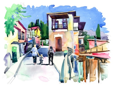 small country town: original watercolor painting on paper of old street in Gurzuf, Crimea, Ukraine, plein air painting Stock Photo