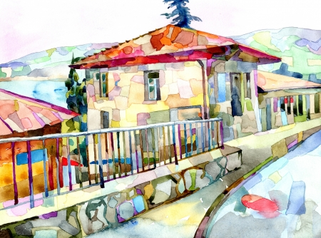 rural house: original watercolor painting on paper of old street in Gurzuf, Crimea, Ukraine, plein air painting Stock Photo