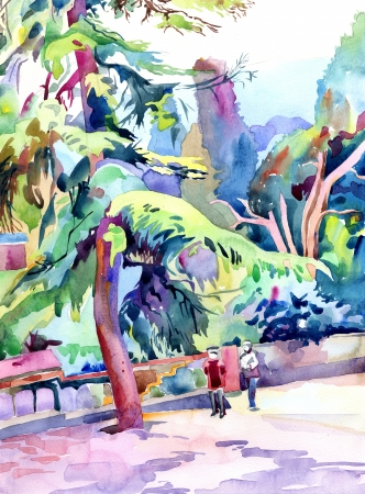 original watercolor landscape with trees, plein air painting photo