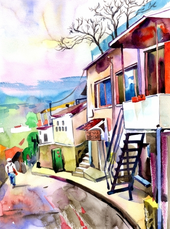 building sketch: original watercolor painting on paper of old street in Gurzuf, Crimea, Ukraine, plein air painting Stock Photo
