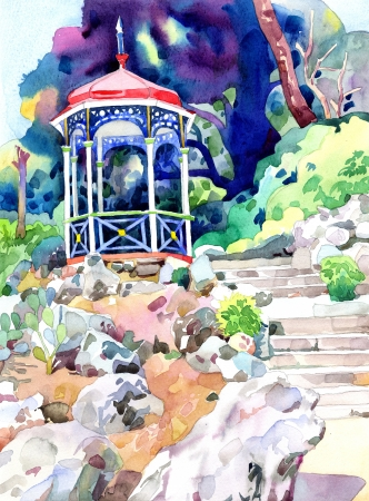 original watercolor painting on paper of arbour in Nikita botanical gardens, Crimea, Ukraine, plein air painting photo