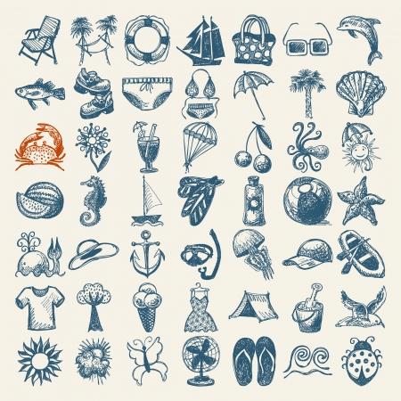 49 手描きスケッチ夏アイコン コレクション