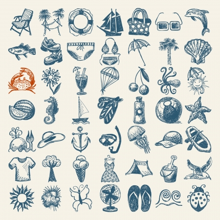 tropical fish: 49 hand draw sketch summer icons collection Illustration