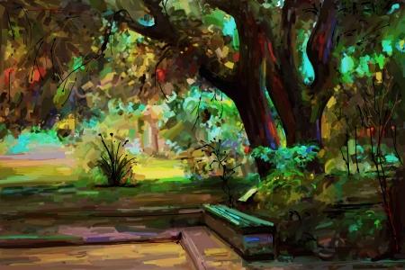 landscape painting: original landscape painting, park in spring, vector version