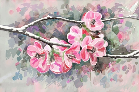 original painting of flower, blooming spring tree, watercolor style, vector version Vector