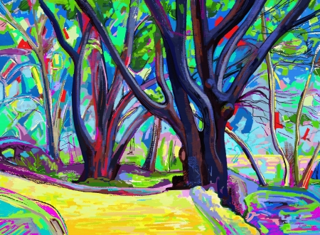 original digital painting of spring landscape in the national park in Nikita, Crimea, Ukraine, vector version Vector