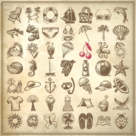 49 hand draw sketch summer icons collection on grunge paper background Vector