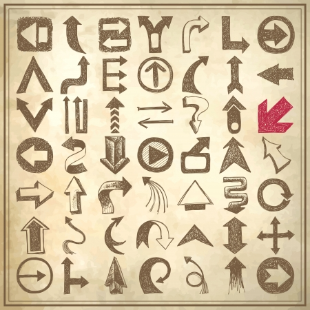 49 hand draw sketch arrow element collection, icons set on grunge paper background Vector