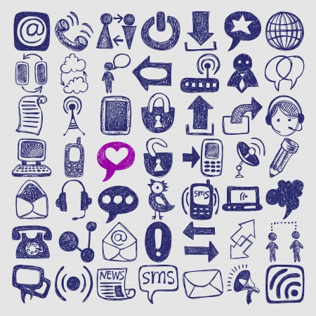 49 hand draw sketch communication element collection, icons set Vector