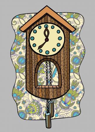 cuckoo clock: doodle clock vector illustration