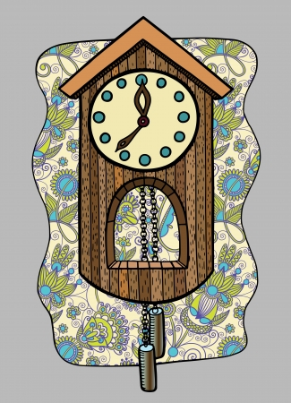 reloj cucu: garabato reloj ilustración vectorial