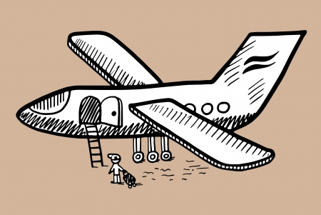 black and white doodle sketch ink drawing of airplane, engraving style Vector