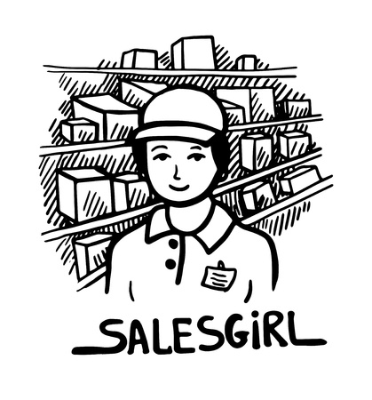 salesgirl: black and white doodle sketch ink drawing of salesgirl, engraving style