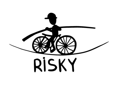 black and white doodle sketch ink drawing of risky, engraving style Vector