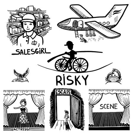 salesgirl: collection black and white doodle sketch ink drawing of risky, salesgirl, scene, actress, escape, travel, engraving style