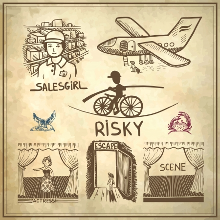 collection doodle sketch ink drawing of risky, salesgirl, scene, actress, escape, travel on grunge paper background Vector