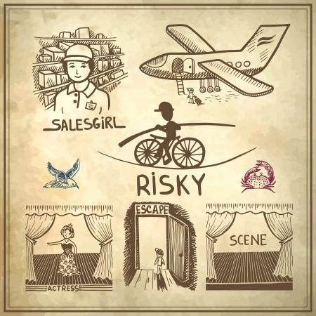 tightrope walker: collection doodle sketch ink drawing of risky, salesgirl, scene, actress, escape, travel on grunge paper background