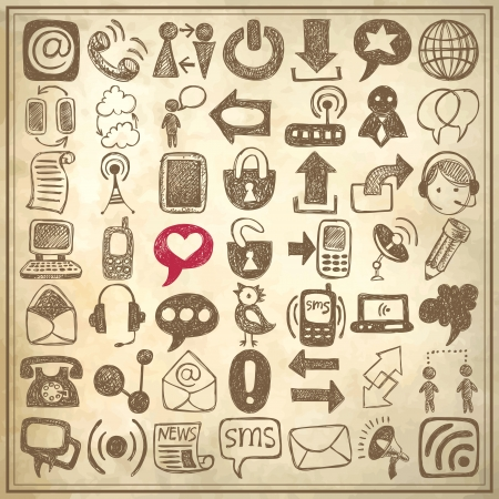 contact icon: 49 hand draw sketch communication element collection on grunge paper background, icons set Illustration