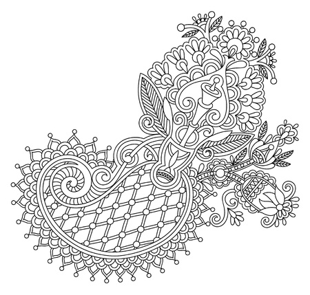 original line art ornate flower design. Ukrainian traditional style Vector