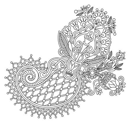 original line art ornate flower design. Ukrainian traditional style Vetores