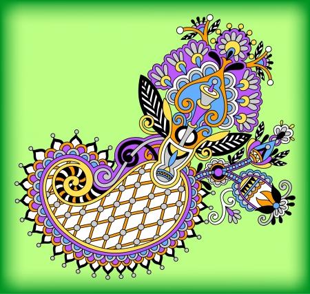 original digital draw line art ornate flower design. Ukrainian traditional style Vector