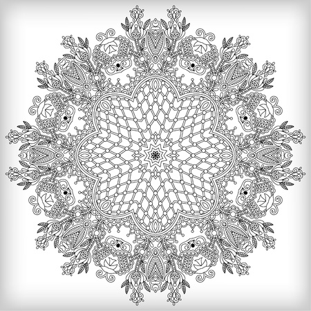 Circle lace ornament, round ornamental geometric doily pattern Stock Vector - 19894466
