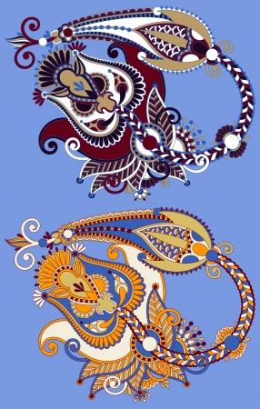 original hand draw line art ornate flower design. Ukrainian traditional style Stock Vector - 19894535