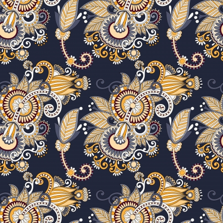 paisley background: vintage floral seamless paisley pattern Illustration