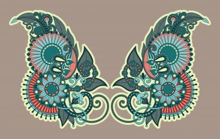 neckline: Neckline embroidery fashion Illustration