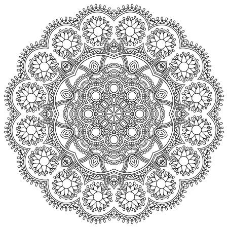 サークルの黒と白のレース飾り, 装飾的な幾何学的なドイリー パターンをラウンド
