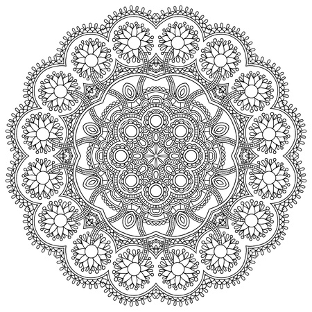 Circle lace black and white ornament, round ornamental geometric doily pattern