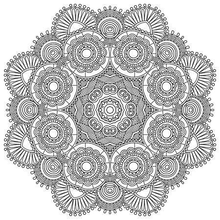 Círculo del ornamento del cordón blanco y negro, redondo ornamental tapete geométrica Ilustración de vector