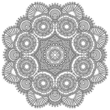 napkins: Circle lace black and white ornament, round ornamental geometric doily pattern