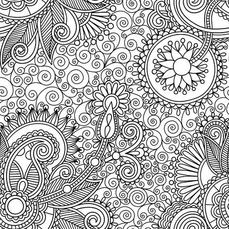デジタル黒と白の華やかなシームレスな花ペイズリー柄の背景を描画  イラスト・ベクター素材