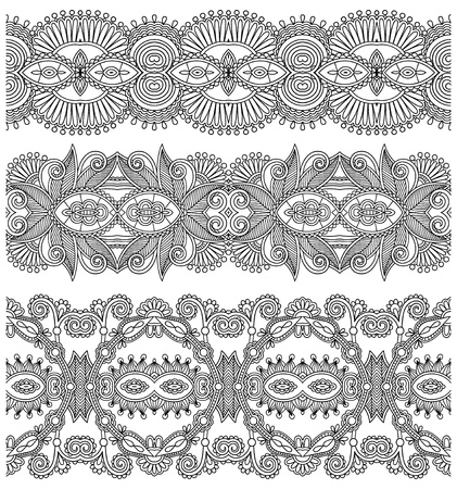 collection of black and white seamless ornamental floral stripes Vector