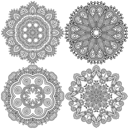 Circle black and white ornament, ornamental round lace collection Vector