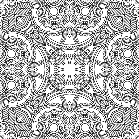 black and white ornamental floral paisley bandanna. You can use this pattern in the design of carpet, shawl, pillow, cushion