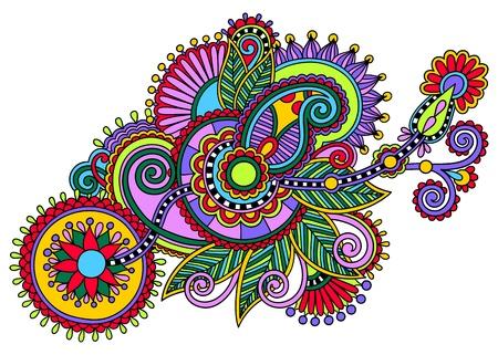 lace filigree: original digital draw line art ornate flower design. Ukrainian traditional style Illustration