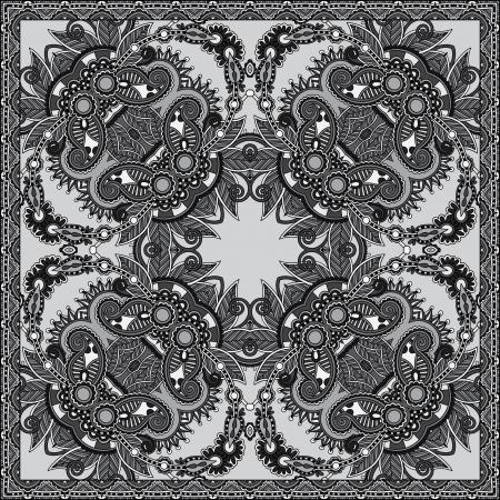 grey ornamental floral paisley bandanna.  Vector