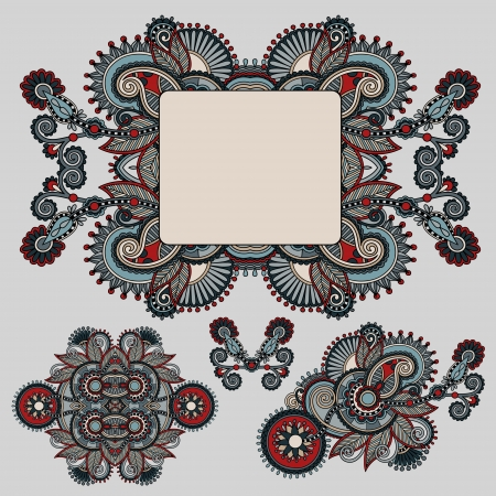 ethnic ornamental floral adornment and frame design Vector