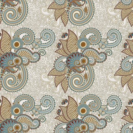 digital drawing ornate seamless flower paisley design background Stock Vector - 21171605