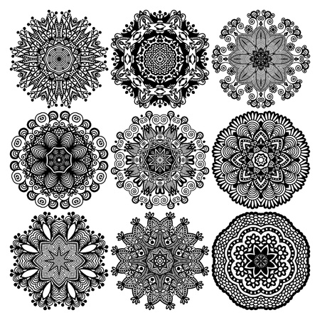 filigree background: Circle lace ornament, round ornamental geometric doily pattern, black and white collection Illustration