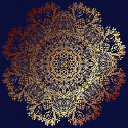 Circle gold lace ornament, round ornamental geometric doily pattern Vector