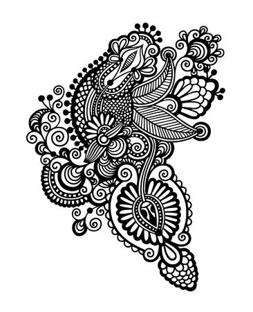 hindi: black  line art ornate flower design, ukrainian ethnic style